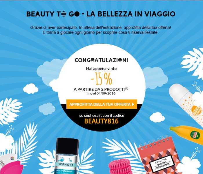 Nuovo Concorso Sephora Beauty To Go: confermando la partecipazione al concorso ricevi subito un codice sconto del 15%!