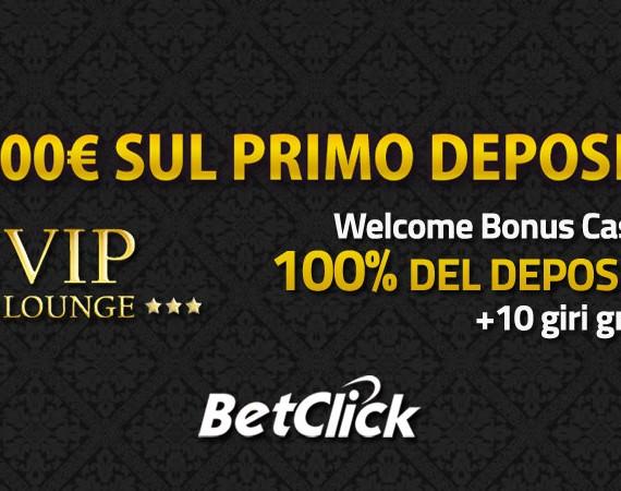Betclic Casinò Vip Lounge: welcome bonus fino a 1.000€ sul primo deposito