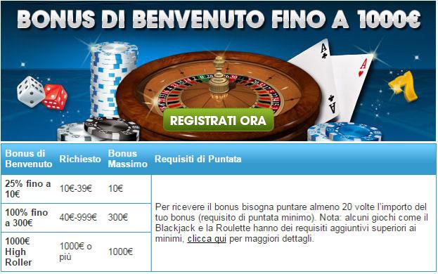 Bonus William Hill Casinò: fino a 1000€ di bonus di benvenuto col tuo primo deposito, ecco come funziona.