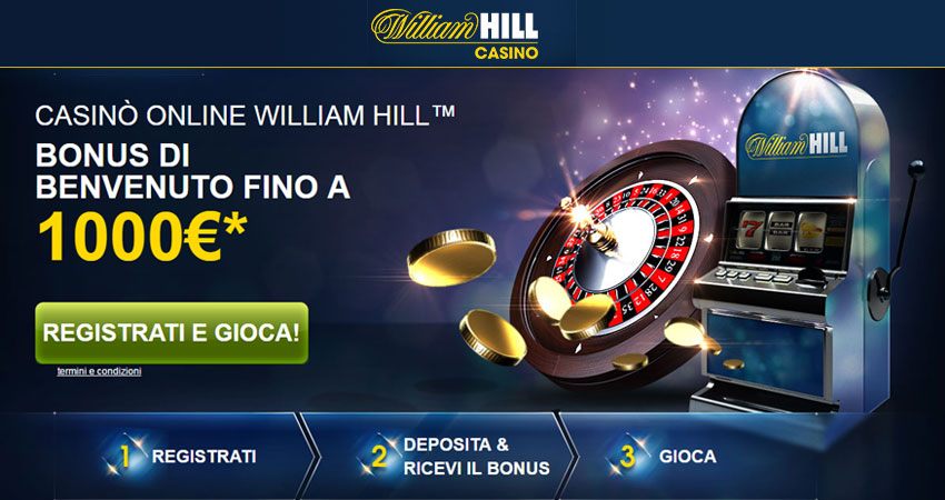 Bonus William Hill Casinò: fino a 1000€ di benvenuto