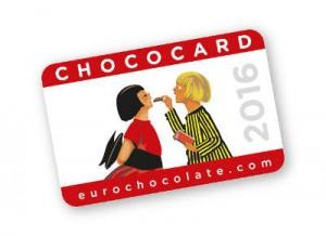 La Chococard di Eurochocolate 2016. Acquistabile online su Chocostore al costo di 6,00€ oppure a Perugia presso ChocoCard Point, stand del Chocolate Show o punti vendita convenzionati ChocoCard. © Eurochocolate