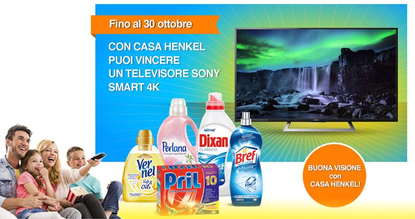 Concorso Casa Henkel: un televisore Sony Smart 4K in palio per chi si iscrive alla newsletter e al sito casahenkel.it entro il 30/10/2016.