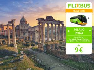 FlixBus nuova tratta Milano - Roma attiva dal 23/06/2016 (via La Spezia - Siena)