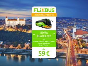 FlixBus nuova tratta internazionale Roma - Bratislava attiva dal 21/10/2016