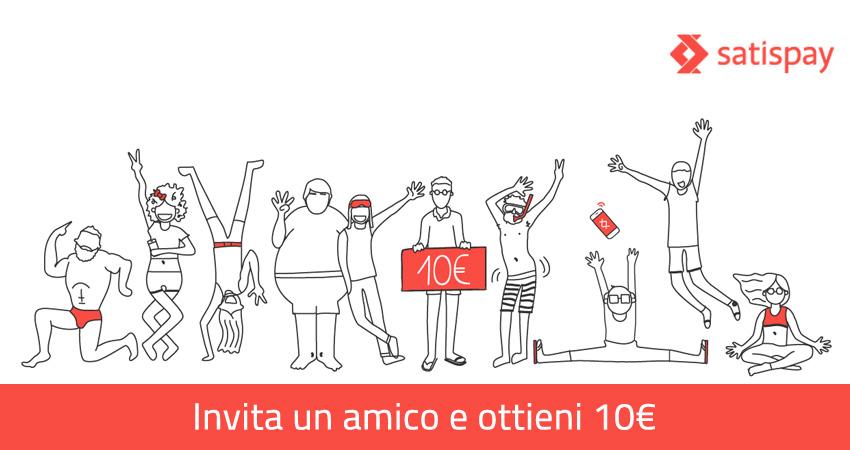 Invita un amico: bonus di 10 euro con Satispay