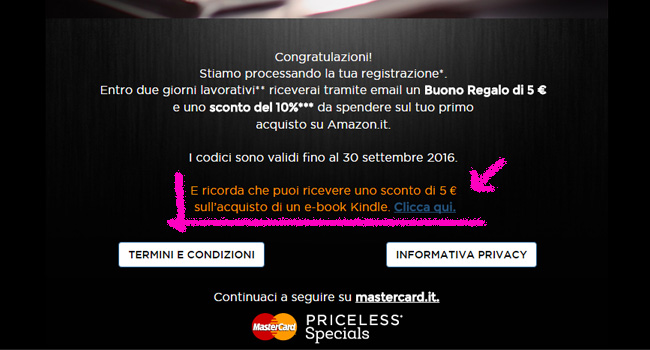 MasterCard Priceless: come ricevere lo sconto di 5€ su ebook Kindle