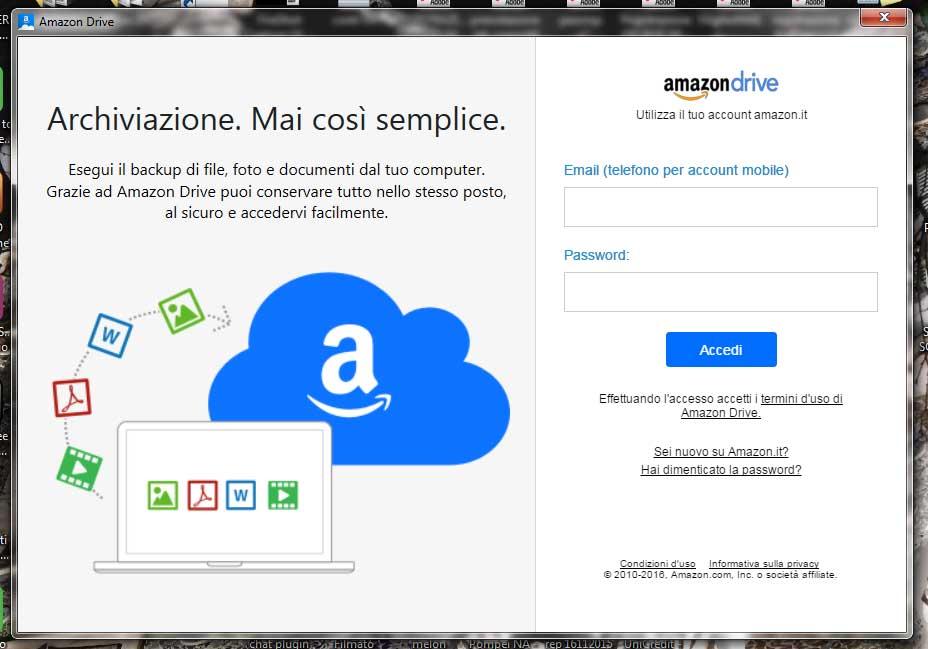 Scarica l'applicazione Amazon Drive in versione Desktop o per i tuoi dispositivi mobili e usala per caricare almeno una foto su Prime Photo: grazie all'offerta esclusiva Prime, ricevi 60€ di buoni sconto Amazon. © Amazon.it