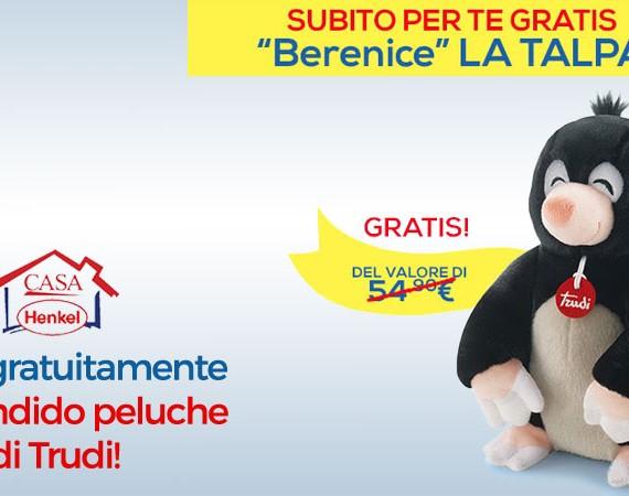 Peluche Trudi gratis con Casa Henkel: con un acquisto di almeno 59€ su Casa Henkel, ricevi in regalo la talpa Berenice di Trudi! Solo fino al 03/10/2016!