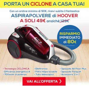 Promozioni Casa Henkel: Aspirapolvere Hoover Rush RU31 a 49,00€ con un ordine di 50,00€, fino al 27/10/2016. © CasaHenkel.it