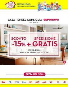 Promozioni Casa Henkel: Casa Henkel consiglia Euronova! -15% + spedizione gratis su Euronova con il codice BV234, fino al 28/02/2017. © CasaHenkel.it