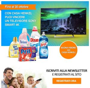 "Promozioni Casa Henkel: partecipa al concorso ""Vinci un Televisore Sony 4K"" iscrivendoti alla newsletter e registrandoti al sito casahenkel.it; in palio un televisore Sony Smart 4K 55'', fino al 30/10/2016. © CasaHenkel.it"