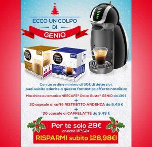 Promozioni Casa Henkel: effettuando un ordine di 50€, puoi avere la macchina Nescafè Dolce Gusto Genio con 60 capsule caffè e caffelatte a soli 29€, fino al 05/12/2016. © CasaHenkel.it
