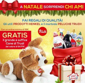 Promozioni Casa Henkel: effettuando un ordine di almeno 59€, puoi avere gratis il peluche Cane di Trudi, fino al 14/12/2016. © CasaHenkel.it