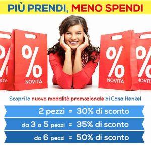 Promozioni Casa Henkel: Più Prendi Meno Spendi, sconti dal 30 al 50% in base alle quantità acquistate di uno stesso articolo, fino al 08/09/2016. © CasaHenkel.it