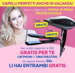 Promozioni Casa Henkel: Phon o Piastra gratis con un ordine di 35,00€, entrambi gratis con un ordine di 59,00€, fino al 04/08/2016. © CasaHenkel.it
