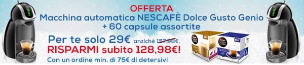 Promozioni Casa Henkel: effettuando un ordine di 75€, puoi avere la macchina Nescafè Dolce Gusto Genio con 60 capsule caffè e caffelatte a soli 29€. © CasaHenkel.it