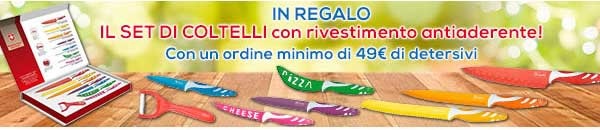 Promozioni Casa Henkel: effettuando un ordine di almeno 49€, ricevi in regalo il colorato set di coltelli con rivestimento antiaderente, fino al 28/12/2016. © CasaHenkel.it