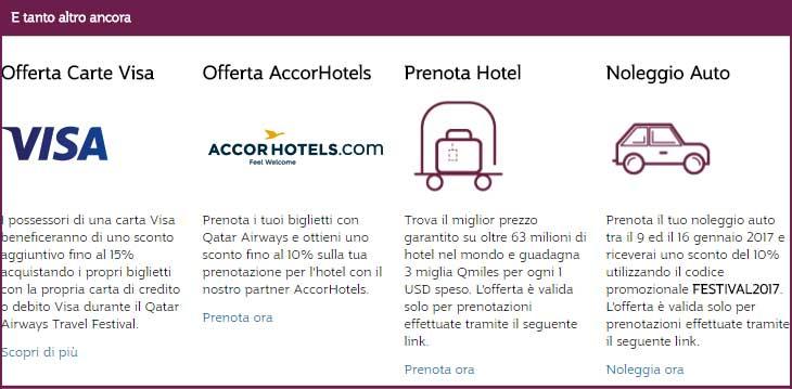 Qatar Airways Travel Festival 2017: scopri le offerte esclusive con Visa e AccorHotels, guadagna miglia Qmiles prenotando il tuo hotel e usa il codice FESTIVAL2017 per avere lo sconto del 10% sul noleggio auto, fino al 16/01/2017. #QatarAirwaysTravelFestival #specialoffers © QatarAirways.com