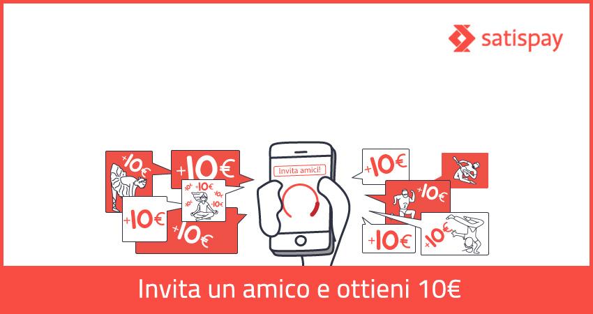 Porta gli amici su Satispay, per te 10 euro gratis!