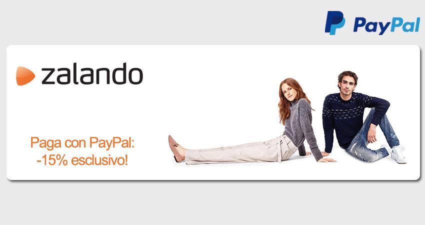 Sconto esclusivo Zalando del 15% se paghi con PayPal, a partire da 100€ di spesa.