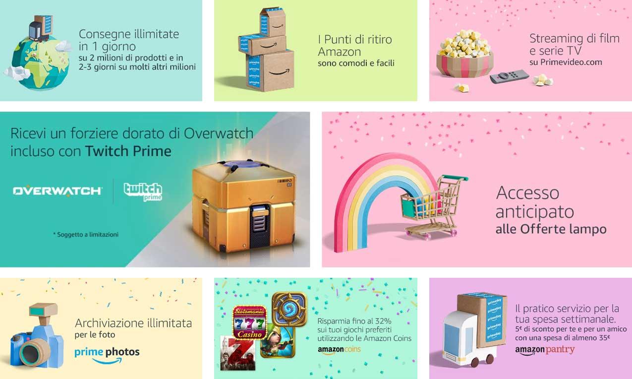 I vantaggi di Amazon Prime. Prova gratuitamente per 30 giorni. Terzo Prime Day di Amazon, 11 luglio 2017. © Amazon