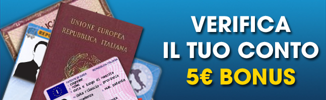 Verifica il tuo conto William Hill: 5€ di bonus in regalo.
