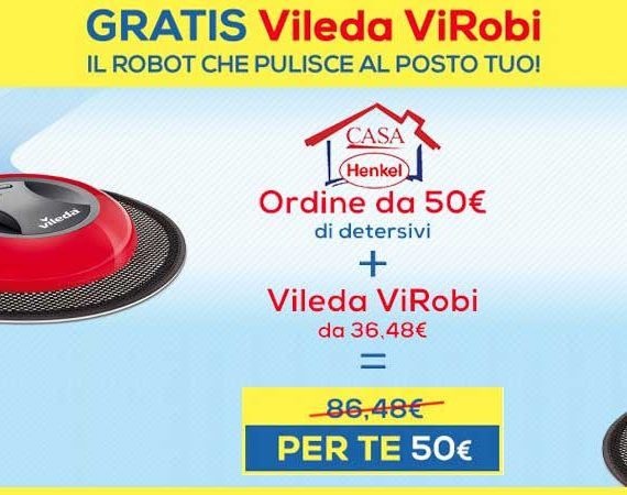 Con un ordine di 50€ ricevi Vileda Virobi gratis con Casa Henkel! Fino al 19/10/2016.